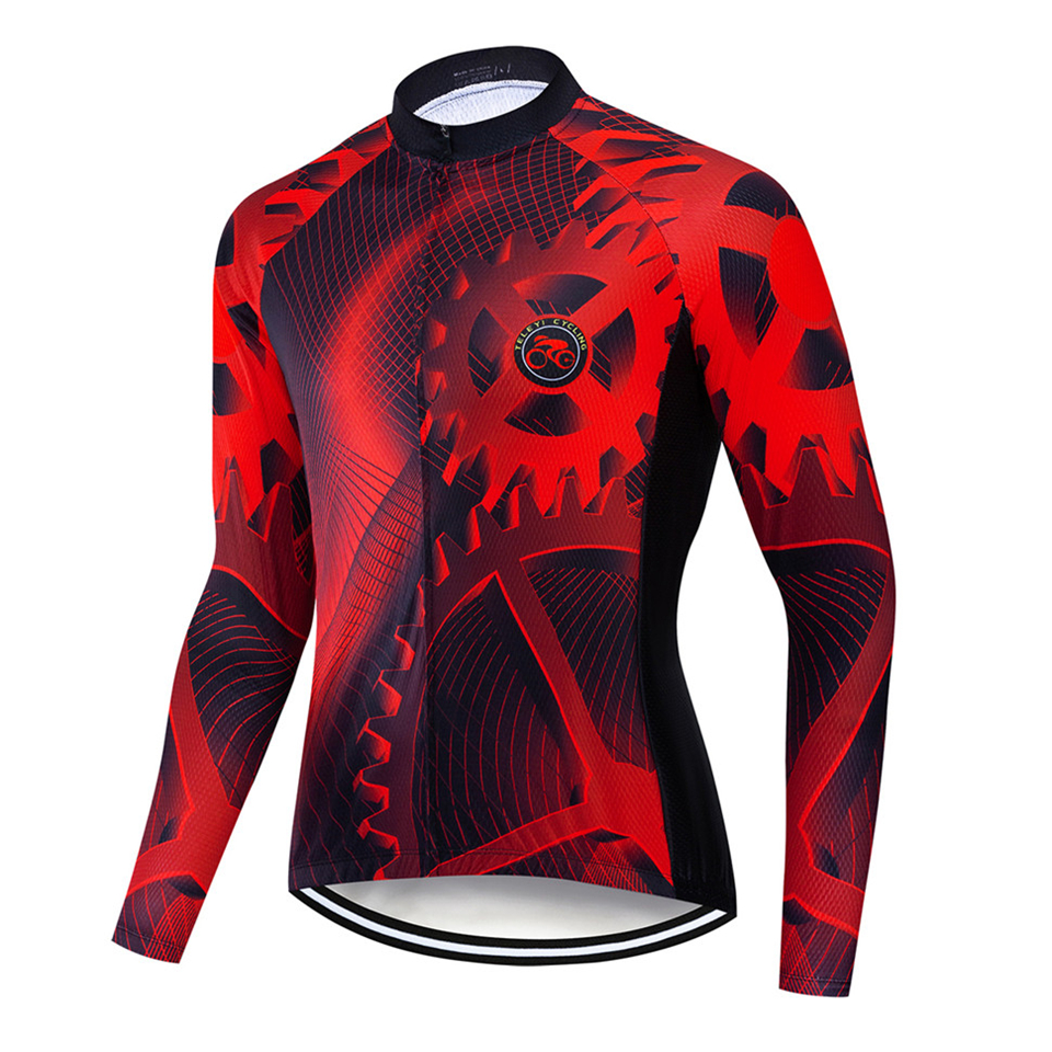 TELEYI gear Autumn Pro Men Long Sleeve Cycling Jerseys Quick-Dry MTB Bike Cycling Clothes Anti-UV Racing Road Bicycle Sportswear 2