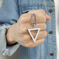 Vnox Geometric Men's Necklaces Hollow Triangle Pendant Minimalist Metal Stainless Steel Male Simple Jewelry