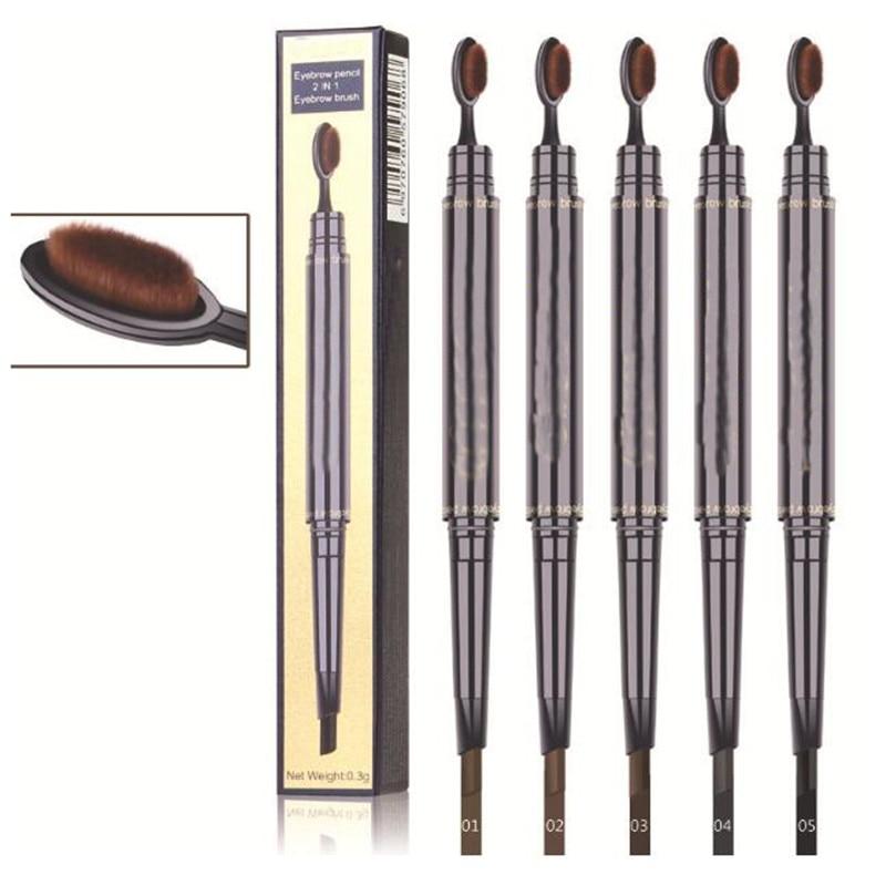 Double Eyebrow Pen with Brush Toothbrush Head Eyebrow Pencil Multifunctional Waterproof Makeup Eyebrow Pencil 1Pc T0685