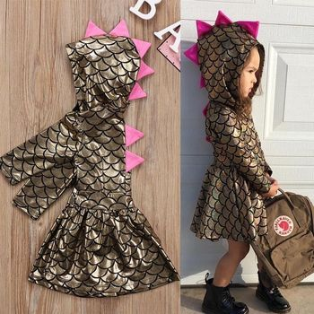 Hot Toddler Kid Baby Girl Princess Dress Party Scale Dinosaur Dress Outfits Costume Pageant Gold Kids Baby Girls Clothes 12M-5T vlinder baby girl dress baby clothes baby dresses girl summer han chinese costume short sleeves birthday dress 12m 5t girl dress