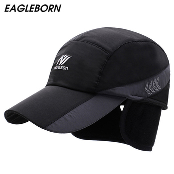siloqin winter men s cap thicker warm baseball caps with earmuffs for men waterproof visor hat adjustable size brand dad s hats 2020 New Warm Winter Baseball Cap Men Ear Protection Hats Brand Snapbak Solid Dad Hat Men Winter Warm for Men Protect The Neck