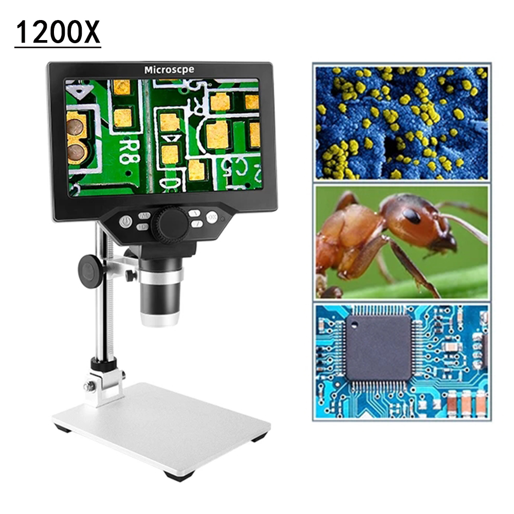 0-1200X USB Digital 12MP Microscope Video Microscope Electronic Built-in lithium Battery 7 inch HD LCD Soldering Microscope