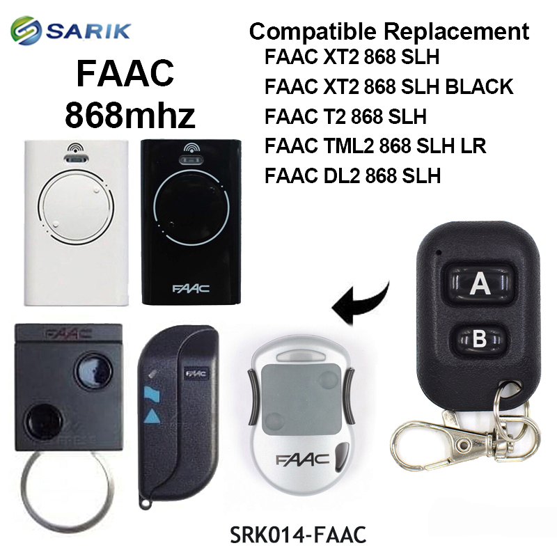 Faac 868mhz Garage Gate Remote For Replace FAAC DL2 868 SLH,XT2 868 SLH Remote Control Keyfod For Gates Rolling Code Command