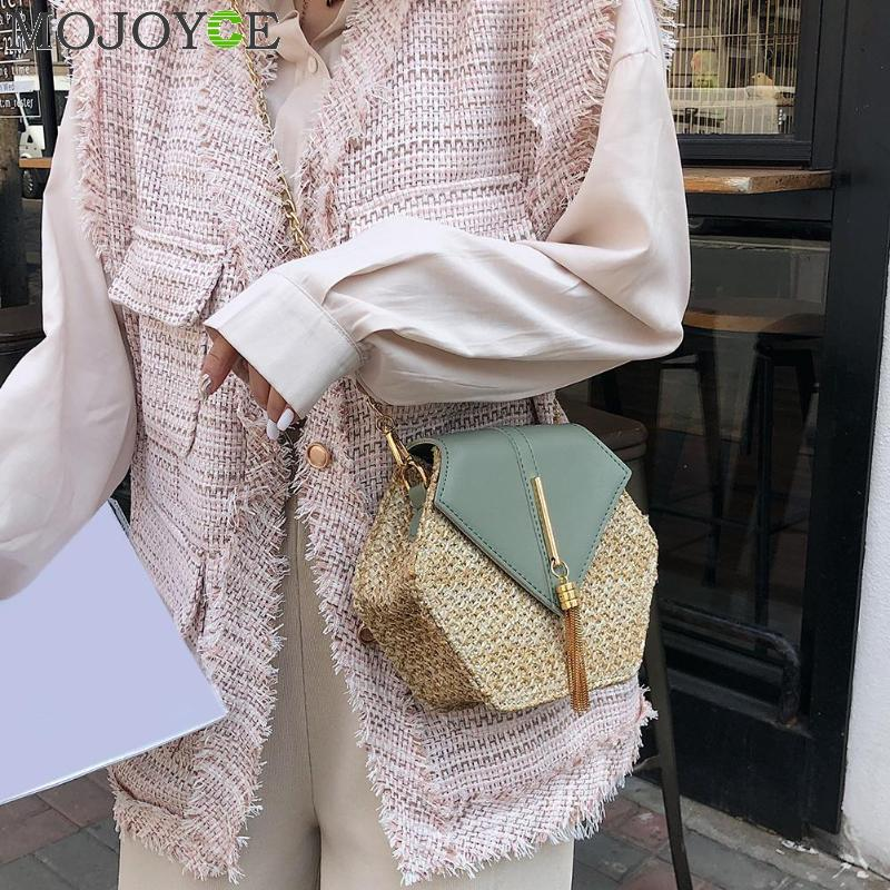Fashion Hexagon Mulit Style Straw+pu Bag Handbags Women Summer Rattan Bag