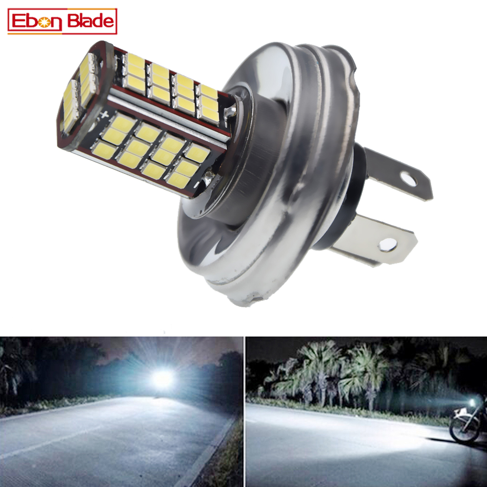 P45T White Motorcycle Motorbike Headlight 6V 12V 24V 30V DC Bixenon Beam 56SMD LED Moped Scooter ATV Lamp Bulb Aluminum Light