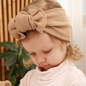 Новинка 2020, хлопковая повязка на голову с бантиками для мальчиков и девочек, мягкая однотонная повязка на голову, милые детские аксессуары д...
