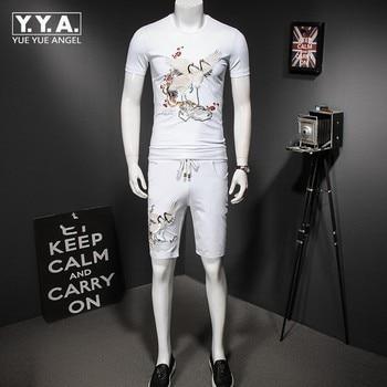 Summer Retro Floral Embroidery Tracksuit Men Breathable Cotton T-shirt Shorts Set Conjunto Masculino Plus Size M-5XL Casual Suit