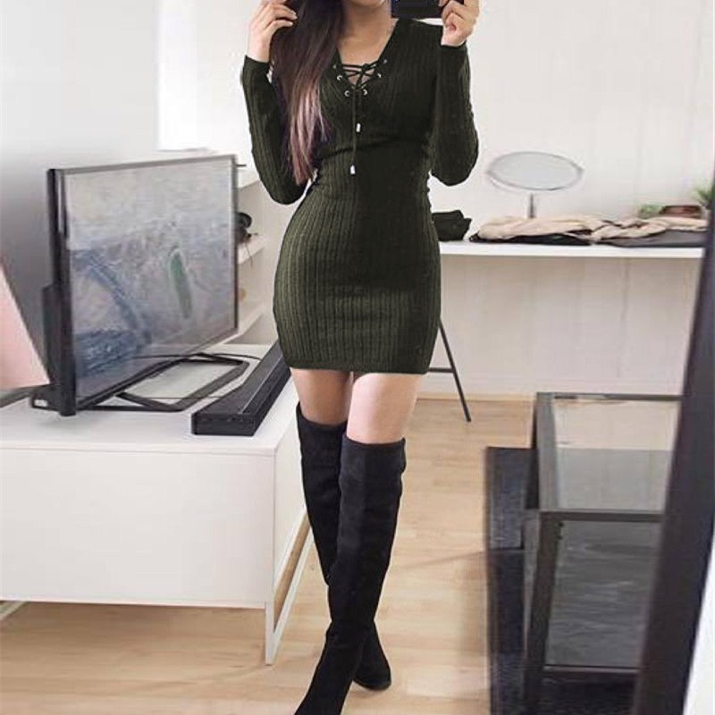 Nice Women Knitted Lace Up Sweater Dress Sexy Club Party Bodycon Dress V Neck Long Sleeve Mini Dresses