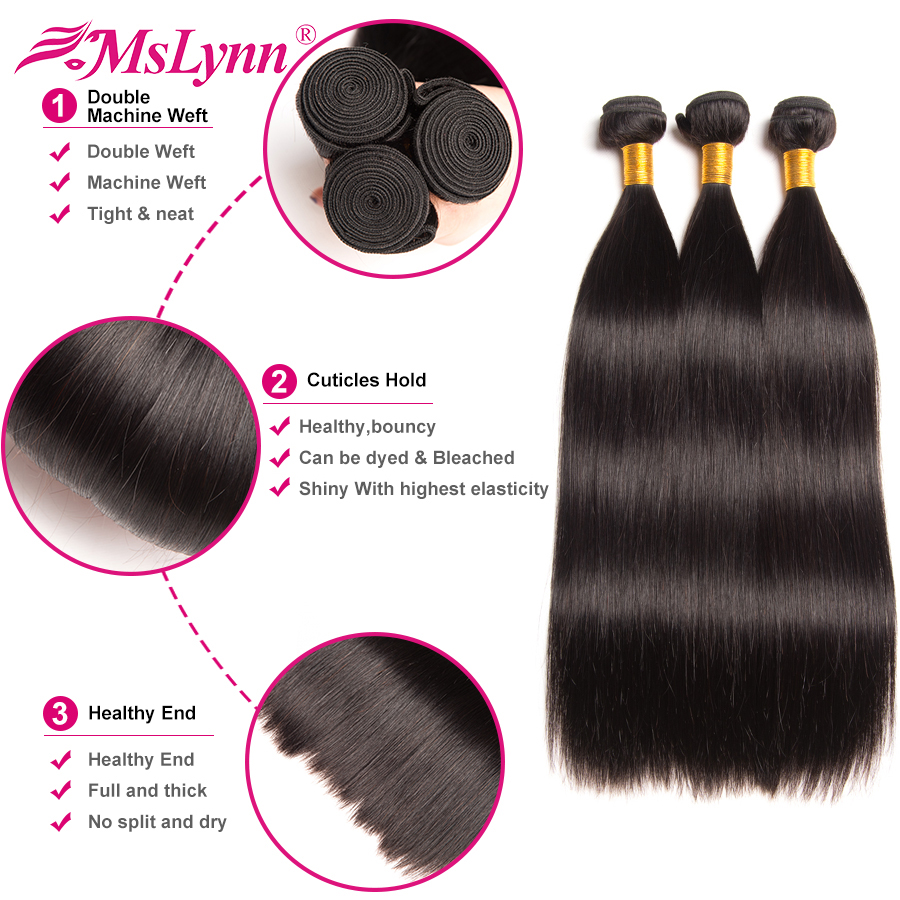 Brazilian Straight Hair Weave Bundles With Closure 4PCS Human Hair Bundles With Closure 4*4 Natural Color Mslynn Non Remy Hair