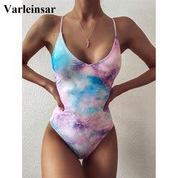 2020 Tie Dye Monokini One Piece Swimsuit Women Swimwear Female Pad Blue Purple Printed Sexy Bather Bathing Suit Swim Lady V2413
