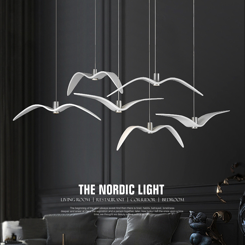 Bird <font><b>Lights</b></font> Nordic Modern <font><b>Pendant</b></font> <font><b>light</b></font> Creative Seagull Restaurant Bedroom Study <font><b>Bar</b></font> Decorative Hanging lamp Led Lamps image