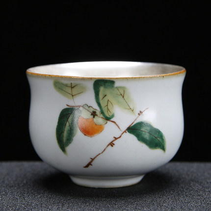 Ru Kiln Teacup handmade Ceramic Silver Plated Liner Sterling Silver Cup Kungfu Green Tea Tie Guan Yin Teaware Free Shiping|Teacups| |  - title=