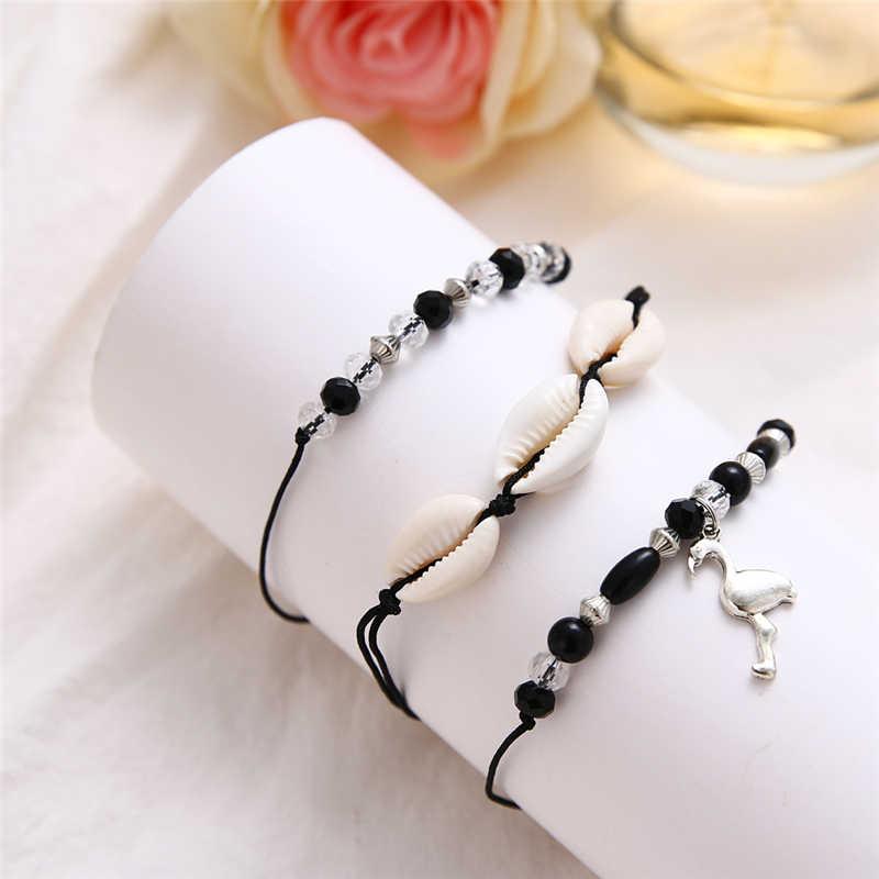 Черная веревка из бисера ножной браслет животных подвесные ножные браслеты для женщин летние пляжные оболочки ножной браслет в богемном стиле браслеты на ногу бижутерия для ног