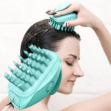Электрический массажер для кожи головы, расслабляющий уход, головной гребень с широкими зубьями, шампунь, щетка, аксессуары для ванной комнаты, душ, Мягкий силикон для мытья волос