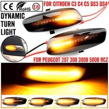 A Pair Turn Signal Blinker Light LED Car Dynamic Side Marker Signal Lamp For Peugeot 308 207 3008 5008 Turn Indicators