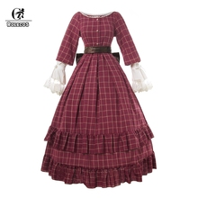 ROLECOS Lolita Dress Long Sleeve Retro Vintage Dress Bow Women Lolita Dress Party Costume Halloween Lovely Costume Party