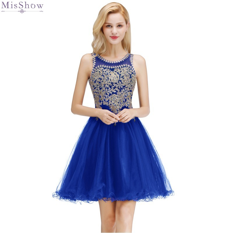 Robe Cocktail Dresses 2019 Sexy Royal Blue Tulle Cocktail Party Dress Sleeveless Short Formal Dress Coctail Dress
