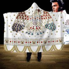 Elvis Presley Hooded Blanket 3D full print Wearable Blanket Adults men women Fleece Blanket style-1 flamingos print blanket 1 pc