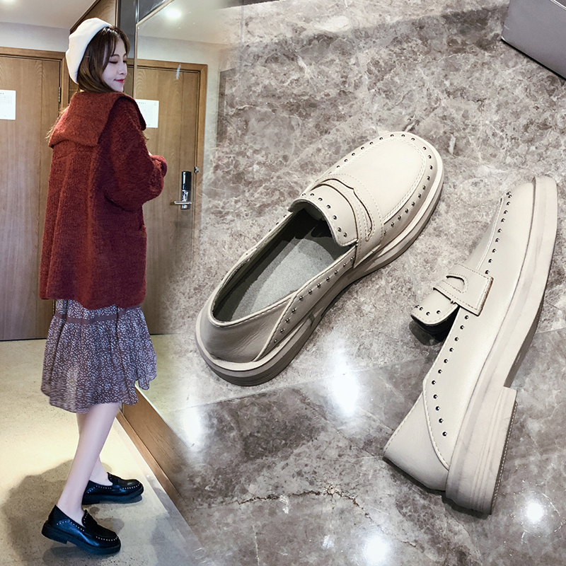 Shoes Woman Flats Casual Female Sneakers All-Match Round Toe British Style Soft Oxfords Women's Dress New Summer Preppy Leather