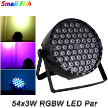 4Pcs/Lot LED Flat Par Light RGBW 54X3W Disco Wash Light Equipment DMX 512 Sound LED Uplights Stage DJ Party KTV Effect Lighting