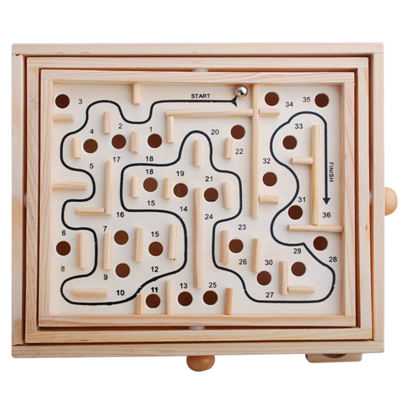 FBIL-Wood Labyrinth Game, Table Maze/Balance Board Table Maze Solitaire Game For Kids And Adults