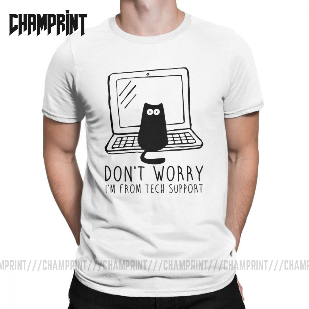 Men's I'm From Tech Support T Shirts Cats Geek Programming Engineering Software Engineer Cotton Tops Funny Tee Plus Size T-Shirt