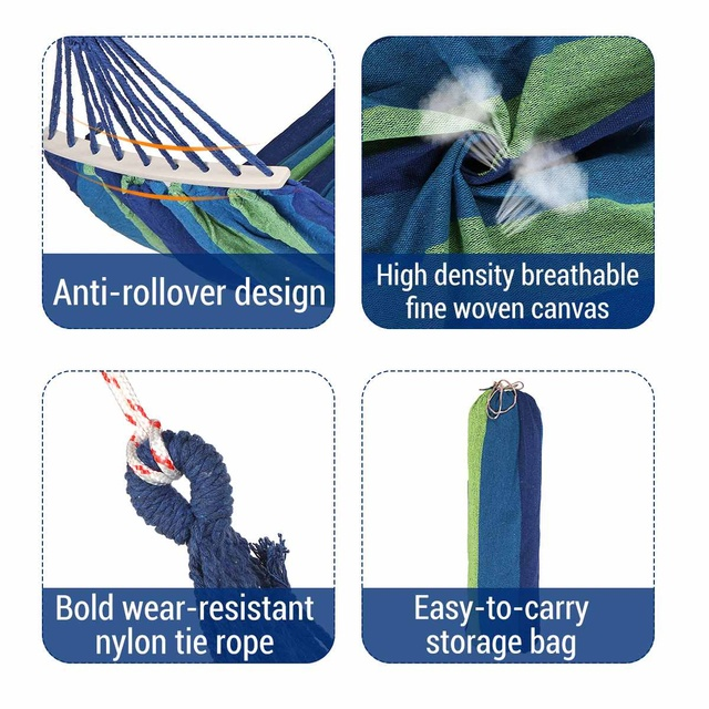 Portable Canvas Hammock Travelling Outdoor Picnic Wooden Swing Chair Camping Hanging Bed Garden Furniture with Backpack 5