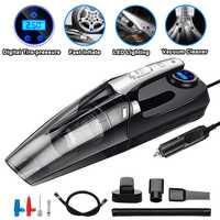 4 In 1 Auto Tragbare Nass/Trocken Auto Staubsauger 12V 120W 4000Mpa Mit Smart Digital Reifen inflator Pumpe Manometer Led Licht