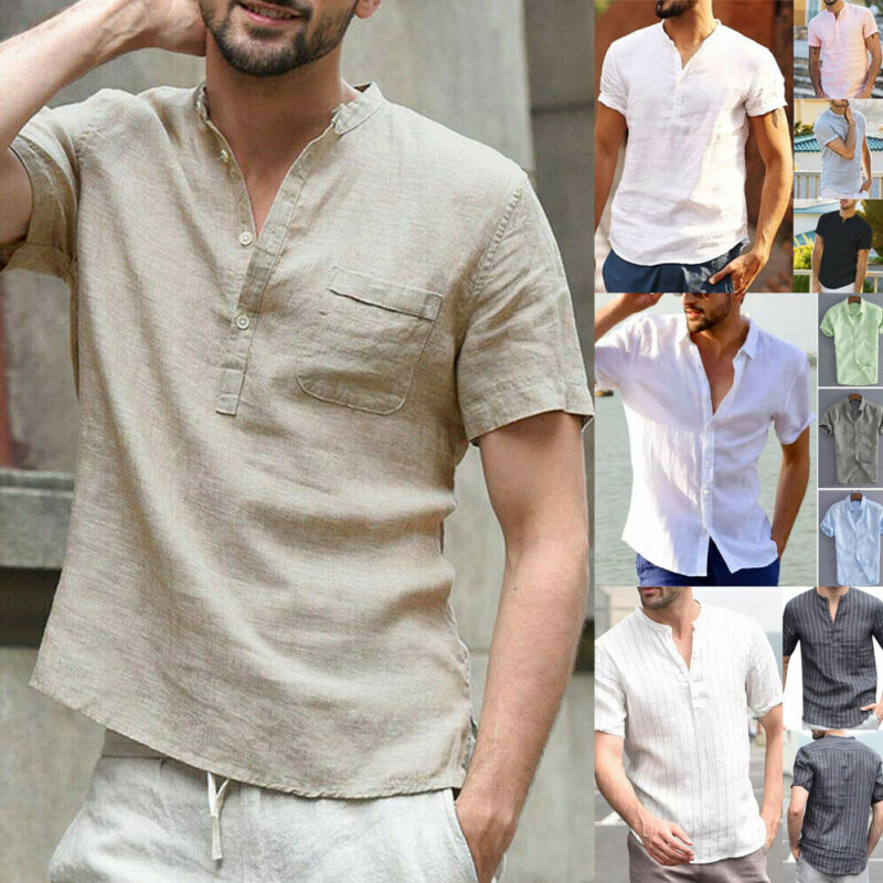 Fashion Men's Linen Short Sleeve Summer Casual Loose Soft Button-Front Solid V-Neck Slim Fit Shirts M-XXXL