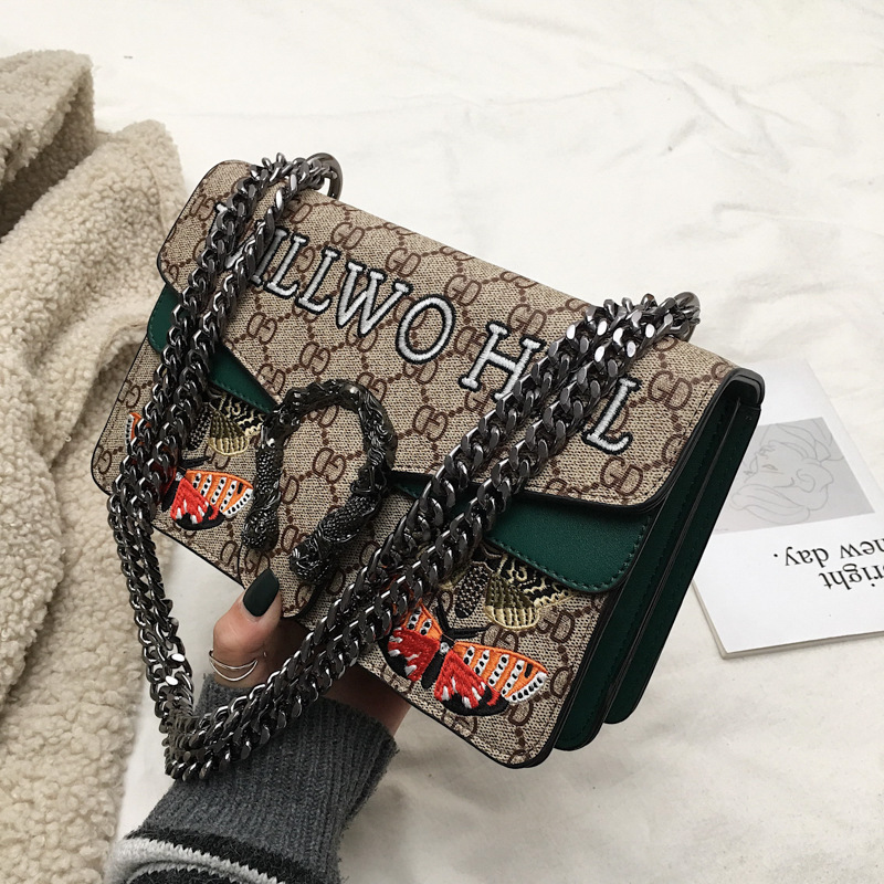 New Fashion Chains Messenger Bag Fashion Bag Chain Small Square With Butterflies On Bag Messenger Women Shoulder Bag