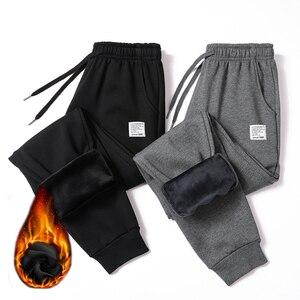 Image 3 - شتاء دافئ القطن Sweatpants الرجال الشارع الشهير السراويل قلم رصاص غير رسمي الكتان الرجال السراويل كامل طول الرباط بنطلون للرجال 4XL