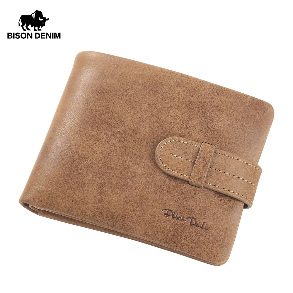 BISON DENIM Genuine Leather Male Wallets Vintage Credit Card Holder Wallet For Men Short Zipper Coin Purse Portomone W4401