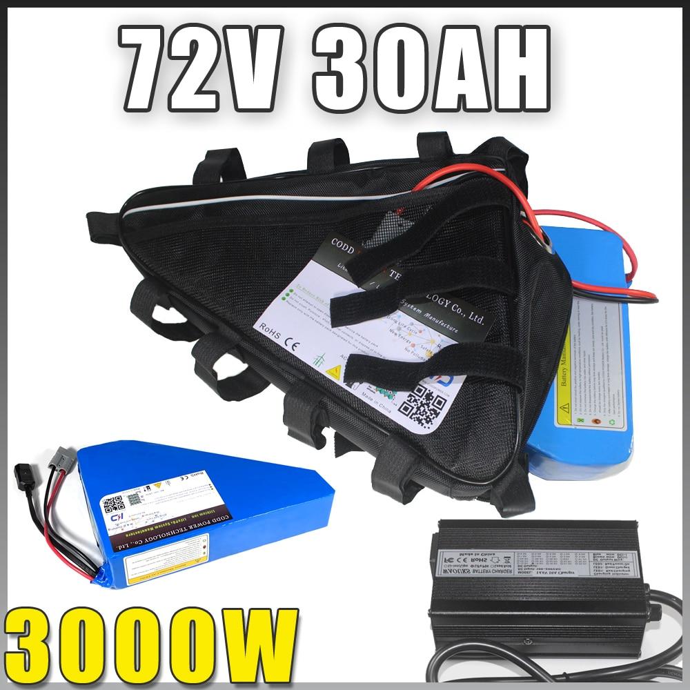 Batería triangular para bicicleta eléctrica, 72V, 40Ah, 2000W, 3000W, 72V