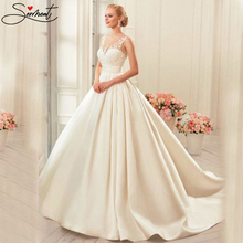 SERMENT Luxury Satin Ivory White Wedding Dress Shoulder Round Neck Water Soluble Lace Church Bride Pregnant Woman Size