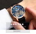 Reloj para hombre Ailang doble recorrido volante mecánico reloj totalmente automático para hombre 2019 a la moda impermeable luz de noche hueca W