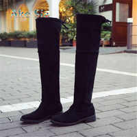 2019 Spring/Autumn Flock Over-the-Knee Lace-Up Over knee boots Round Toe Increased suede women's boots A01