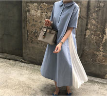 Винтажное Плиссированное однотонное синее элегантное модное