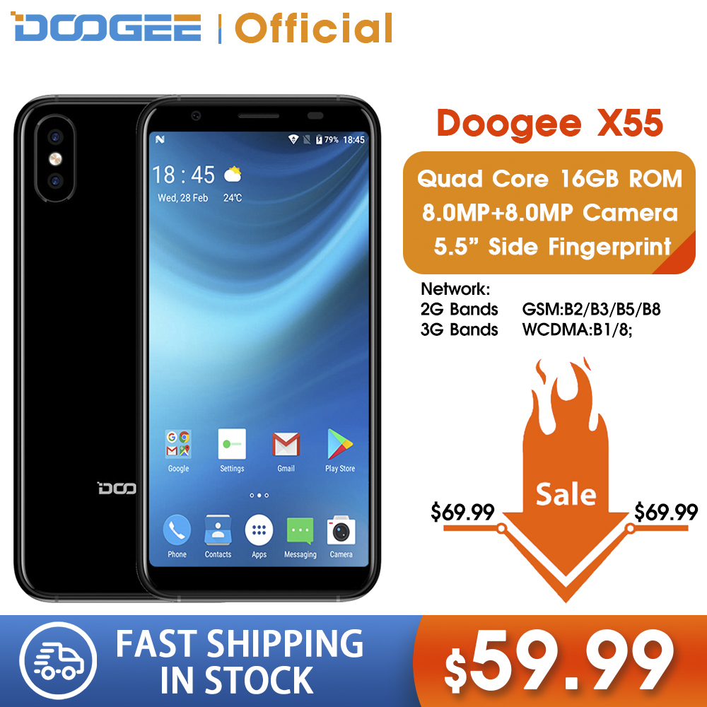 DOOGEE X55 Smartphone 5.5inch Display HD MTK6580 Quad Core 16GB ROM Dual Camera 8.0MP Android 2800mAh Side Fingerprint Cellphone