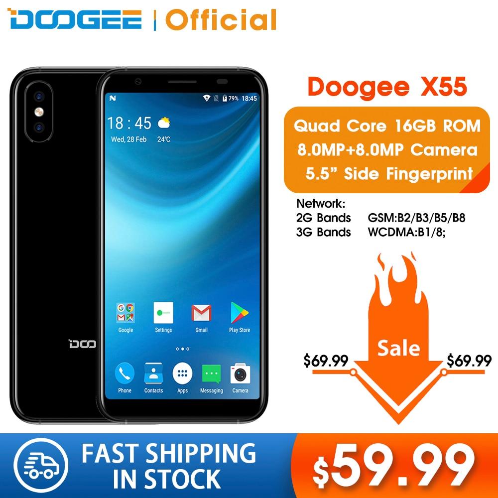 DOOGEE X55 Smartphone 5.5inch Display HD MTK6580 Quad Core 16GB ROM Dual Camera 8.0MP Android 2800mAh Side Fingerprint Cellphone
