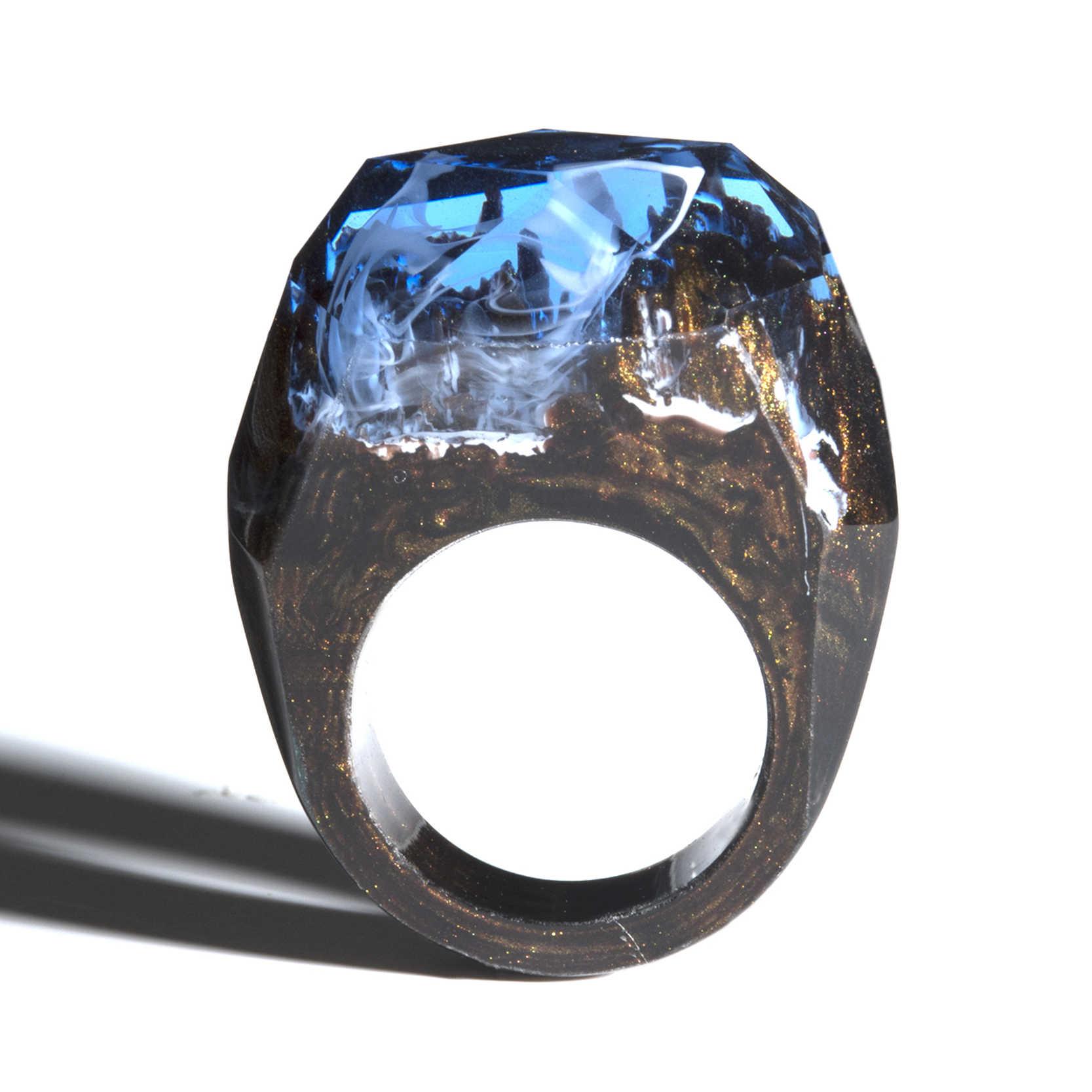 Волшебные деревянные кольца из голубой эпоксидной смолы для женщин с натуральным лесным пейзажем, прямоугольное кольцо, подарок, светящееся под УФ или фонариком