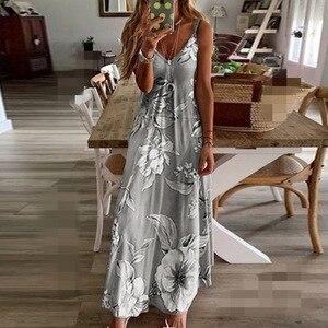 8XL Plus Size Women Dress Summer Sundresses Section Flower Strap Sleeveless Sexy Party Fashion Beach Dresses Robe Long Bohemian