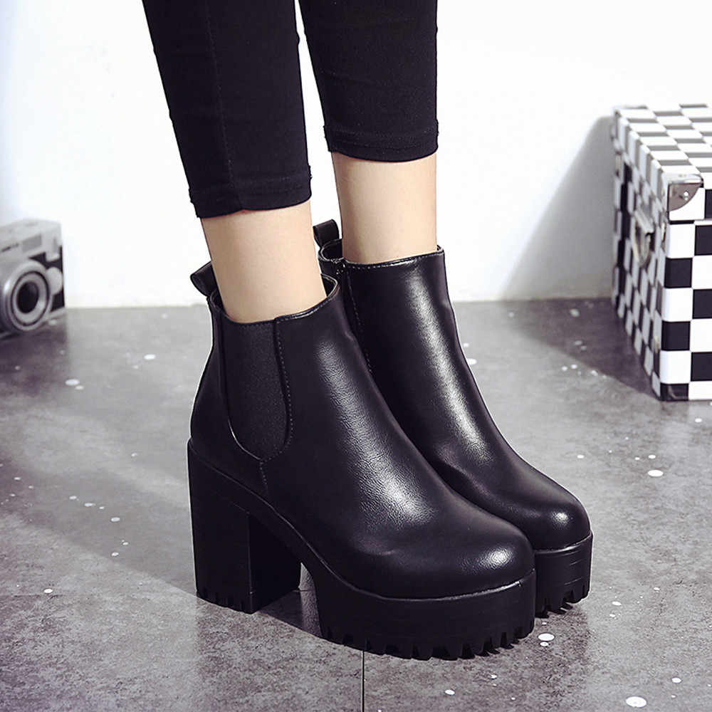 Botas moda kadın çizmeler kare topuk platformları Zapatos Mujer PU deri uyluk yüksek pompa Boots motosiklet ayakkabı sıcak satış # YL5