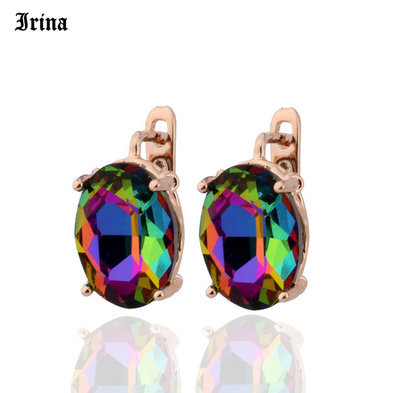 8 Color 585 Rose Gold Color Egg Shape Jewelry Colorful Earings High-quality Glass Stud Earrings for women Costume jewelery Gift