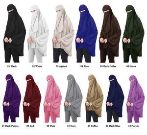 Image 2 - 2PCS מוסלמי נשים ניקאב ארוך Khimar חיג אב צעיף צעיף עמירה Abaya האסלאמי Colthes תקורה תפילה ערבית בגד + צעיף הבורקה העבאיה