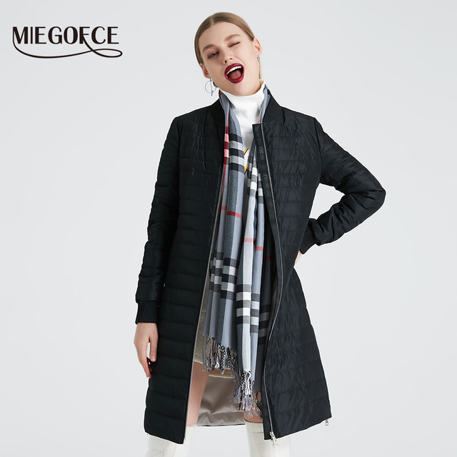 MIEGOFCE 2019 New Women's Spring Coat With a Scarf Women's Jacket Women Stand Collar Thin Section Cotton Clothing Designer New 1