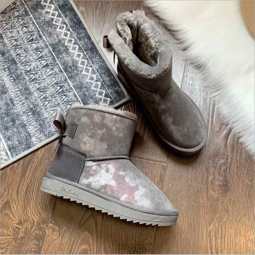 JX26 Schaffell Leder Wolle Pelz Gefüttert Frauen Kurze Knöchel Winter Wildleder Schnee Stiefel mit Bowknots Nerz Quasten Warm Halten schuhe
