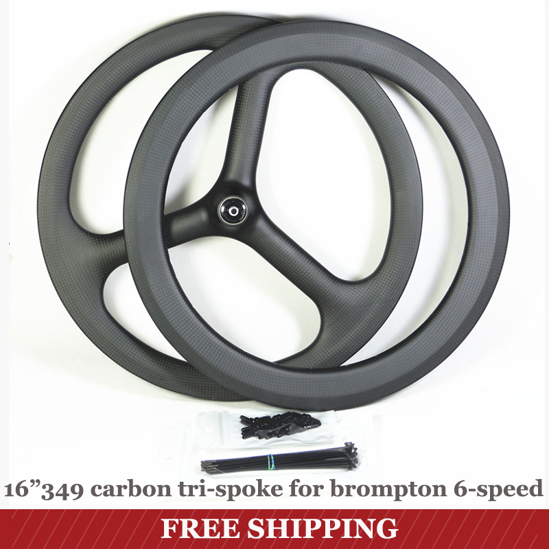 Brompton <font><b>6</b></font>-Speed Carbon <font><b>Wheel</b></font> 16inch 349 tri-<font><b>spoke</b></font> <font><b>Bike</b></font> Wheelset Front Rear Style Carbon Rim 3Spoke image