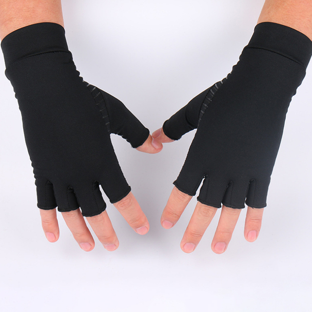 1 Pair Womens Mens fiber Therapy Compression Gloves Hand Arthritis Joint Pain Relief Half Full Finger Therapy Gloves