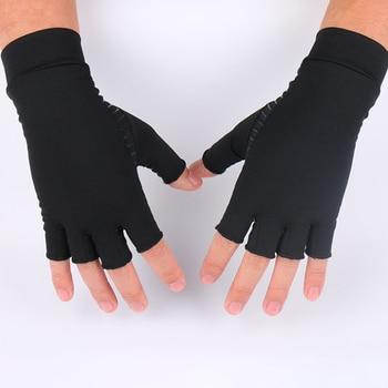 1 par de guantes de compresión de terapia de fibra para hombre para mujer, guantes de terapia de medio dedo para alivio de artritis dolor de articulación en la mano