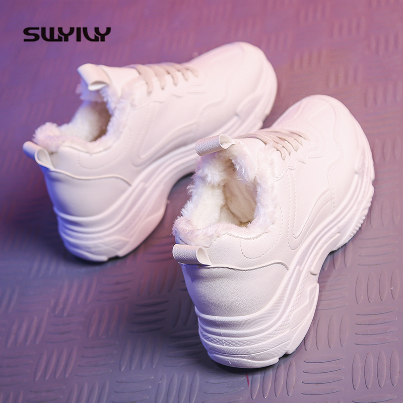 SWYIVY Platform Sneakers Women 2019 New Winter Shoes Woman White Sneakers Students Casual Shoes Plush Warm Autumn Dad Shoes Fur